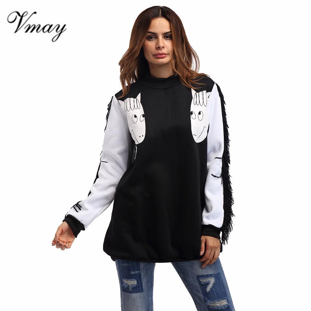 commercio all'ingrosso 2018 nuove donne di arrivo animale stampato felpe autunno inverno manica lunga o-collo nappe camicie top femminile