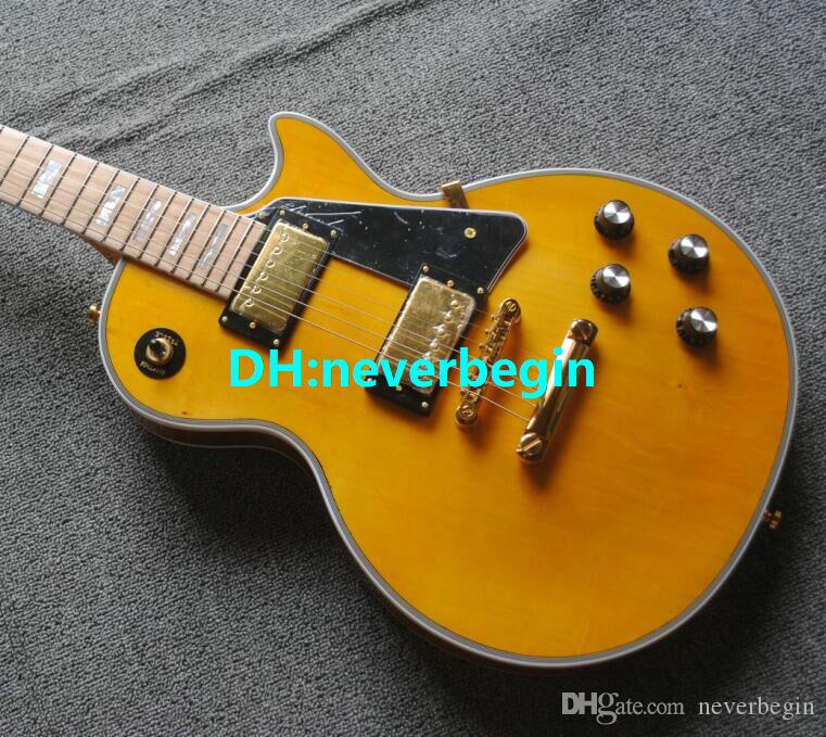 Free shipping Custom Shop yellow Mahogany Solid Electric Guitar Maple Fingerboard OEM From China HOT