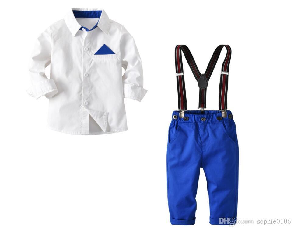 الصبي الأبيض تي شيرت والسروال مع الحمالات تعيين الطفل الربيع والخريف الحمالات تناسب الاطفال قمم وسروال قطعتين ملابس الأطفال XAM006