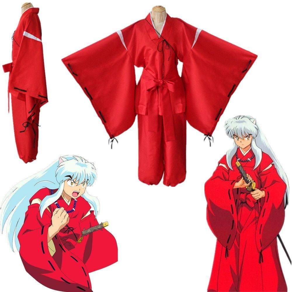 Asya Boyut Japonya Anime Inuyasha Kikyo Kimono Kırmızı Elbise Cosplay Kostüm Cloak Uzun Gevşek Üniforma Tam Set
