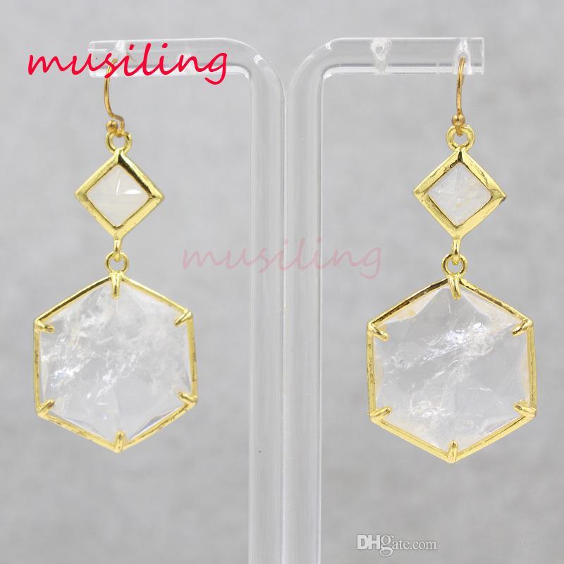 Orecchini in cristallo per donna Orecchini placcati oro 18 carati Gemme naturali Pietra Charms Orecchini geometrici Orecchini pendenti lunghi di moda