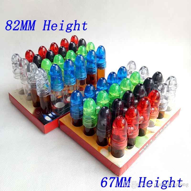 Стеклянная бутылка Snuff Bullet Box Dispenser Snupcher Инструмент для курения Аксессуары 53 мм 67 мм 82 мм Высота Акриловая Сынка Ракета Сниффер