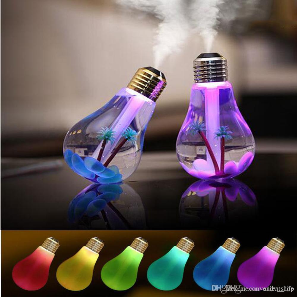 400 ML USB Ultra-sônica Umidificador de Ar Luz Colorida Da Noite Óleo Essencial Aroma Difusor Lâmpada Bulbo Forma com Paisagem Interna