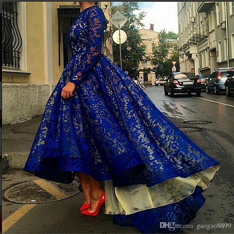 Royal Blue High Low Lace Vestidos de fiesta Vestidos de fiesta Mangas largas Arabia Saudita Dubai Musulmanes Vestidos de noche formales a medida