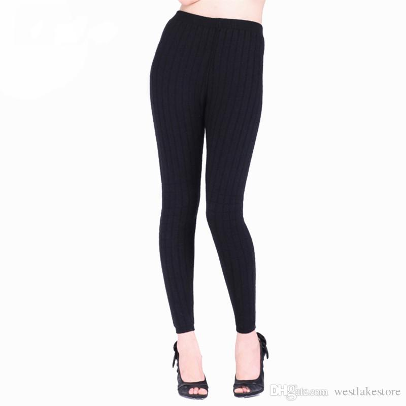 Thick Thermal Underwear Cashmere Skinny Leggings 2-layers Wool Knitted Leotard Warm Pants Pull Femme Factory Wholesale