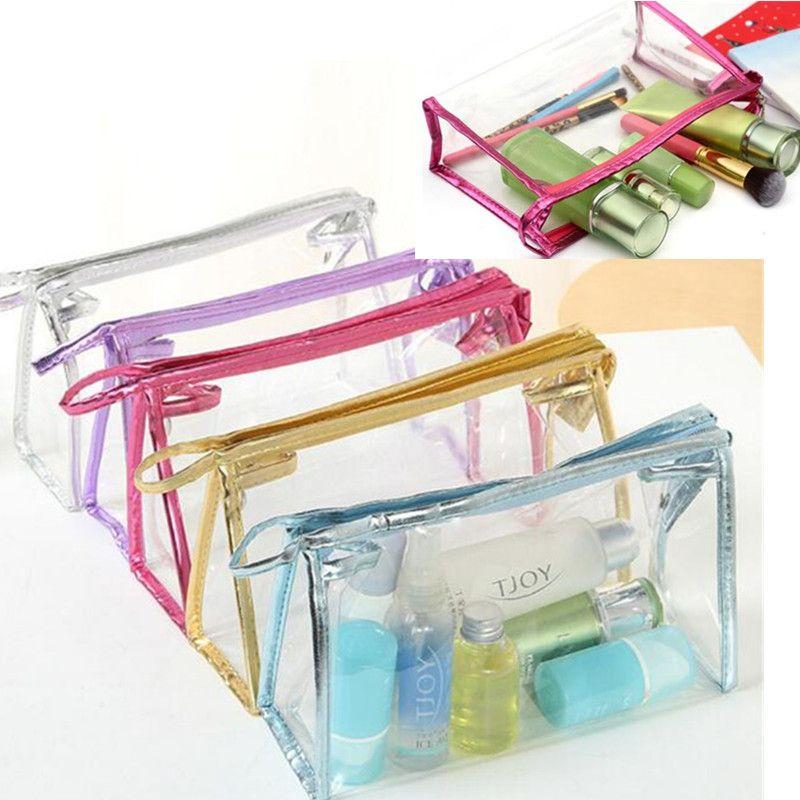 Мода косметического мешка косметических случаев макияж сумка леди мыть мешок прозрачного путешествие ПВХ мешки непромокаемых мешков для хранения