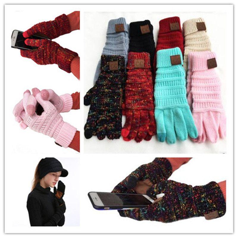 2019 Regalo de Navidad CC Knitting Pantalla táctil Guante Guantes capacitivos Mujeres Invierno Cálido Guantes de lana Guantes antideslizantes hechos punto Guantes