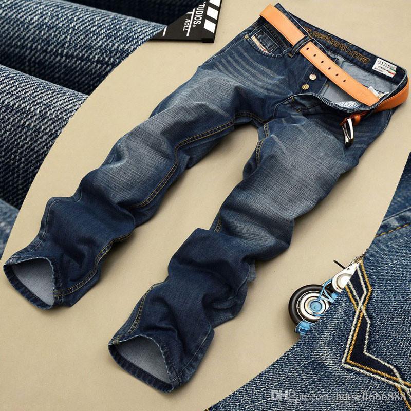 Toptan-Marka tasarımcısı mens kot yüksek kaliteli mavi siyah renk düz erkekler moda bisikletçinin kot düğmesi sinek pantolon için kot yırtık
