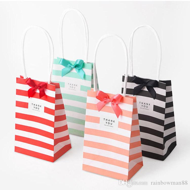 5 Set small gift bag with handles bow Ribbon stripe paper handbag Cookies candy Festival Wedding party gift packaging bags