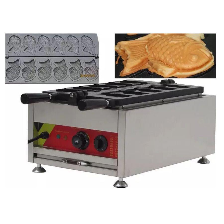 Ticari Sandviç Kırmızı Fasulye Kek Makinesi Balık Waffle Makinesi Balık Şekilli Sandviç Waffle Kek Makinesi Taiyaki Makinesi Snack Ekipmanları