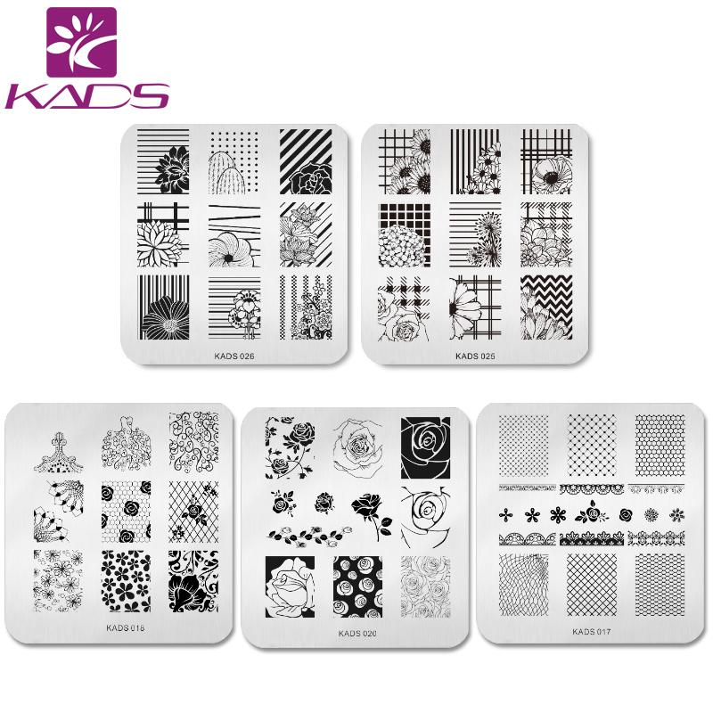 5pcs / set all'ingrosso Bella Flower Design Nail Art Timbro Template Timbratura Piatti Splendida immagine del merletto Manicure Stencil strumento fai da te