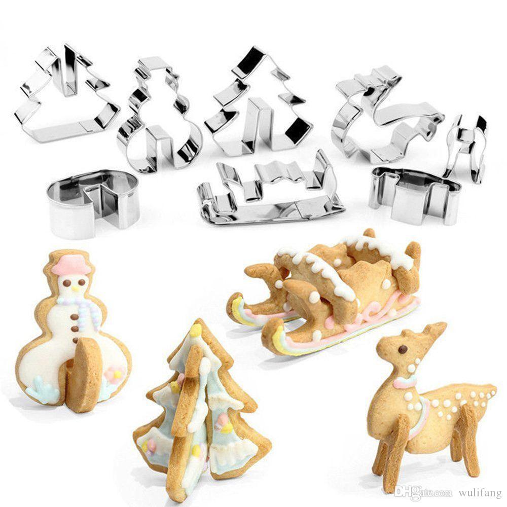 8 PCS/SET 3D Stainless Steel Christmas Cookie Cutters Metal Cookie Mold Fondant Cutter (Color: Silver)
