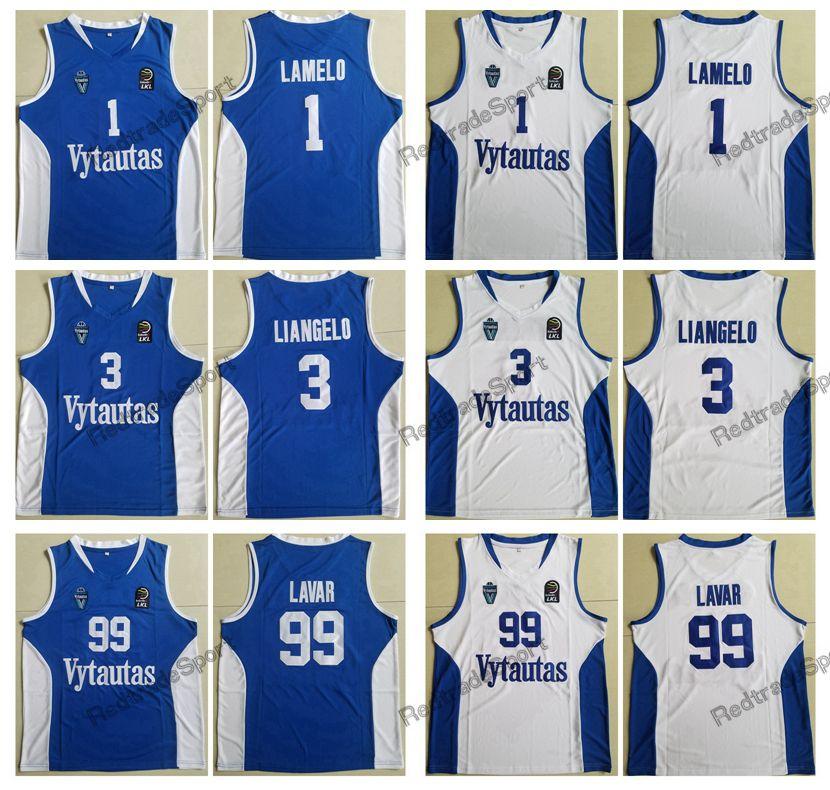 Hombres LaMelo Ball # 1 LiAngelo Ball # 3 Lavar Ball # 99 Lituania Vytautas Baloncesto Jersey Azul Blanco Camisetas cosidas S-XXL