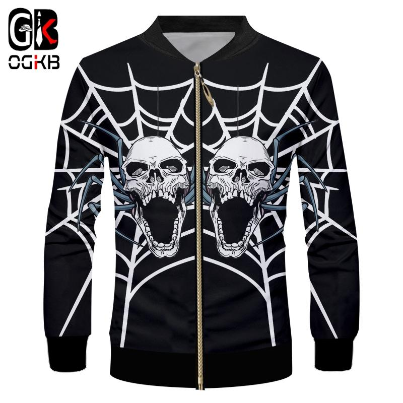 OGKB Man 3D Printed Spider Web And Skulls Trend Personality Casual Men's The New Listing Hip Hop Halloween Zip Jacket