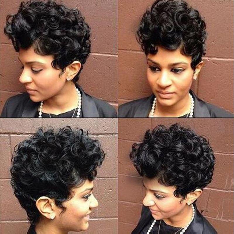 coupe courte bouclés pleins perruques simulation perruque de style vague courte de cheveux humains avec bang pour les femmes livraison gratuite