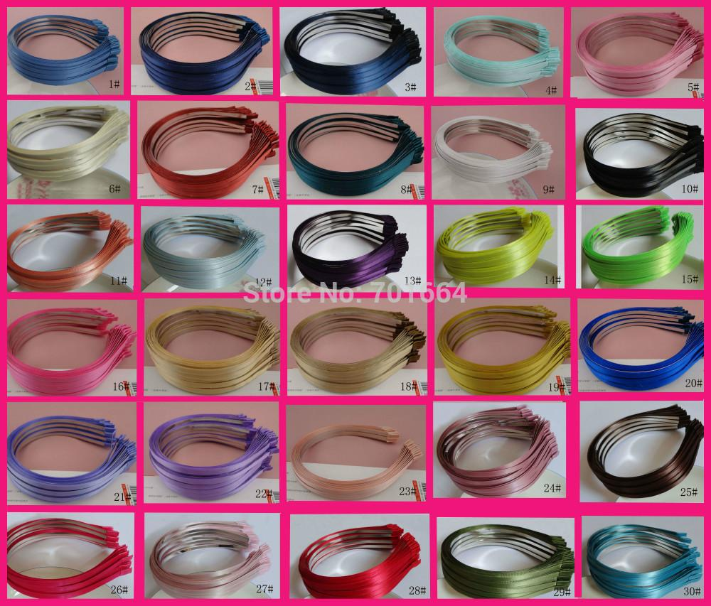 50PCS Assorted colors for selection 5mm satin ribbon covered plain Metal Hair Headbands for DIY Hair jewelry,BARGAIN BULK