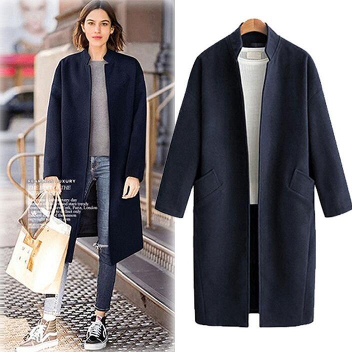 الخريف الشتاء المرأة معطف الصوف يمزج معطف المرأة معاطف متوسطة طويلة قمم الصوف القماش الملابس السيدات أبلى معطف C3793
