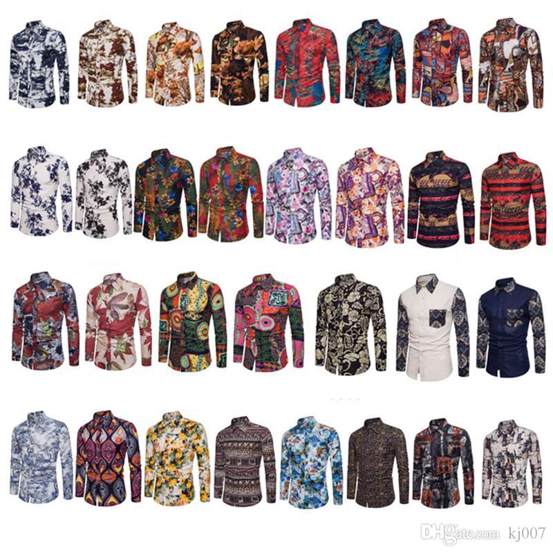 Новые Повседневная Одежда Человек Популярные Ночной Клуб Модные Рубашки С Длинным Рукавом отложным Воротником Повседневные Рубашки Модные Хлопковые Рубашки Поло Мужчины Плюс Размер