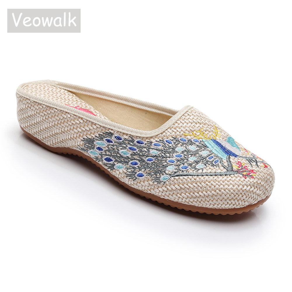 Toptan Tavuskuşu Işlemeli Kadın Keten Yakın Ayak Düz Terlik Konfor Yumuşak Bayanlar Slaytlar Retro Çin Nakış Ayakkabı Bej