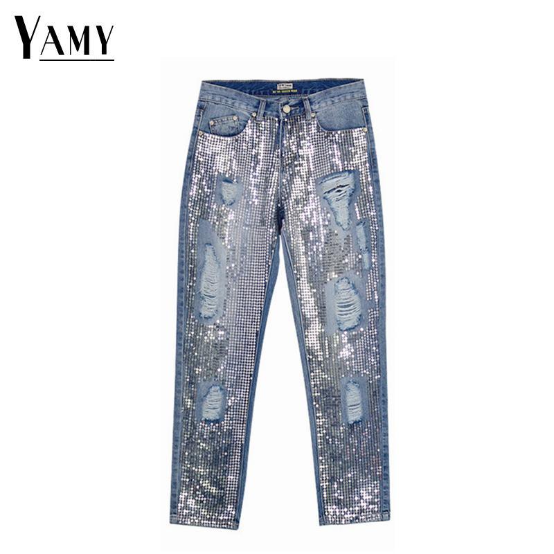 Pantalones vaqueros de lentejuelas mujer sexy tallas grandes vintage medio cintura agujero mamá novio pantalones rotos para pantalones de mezclilla desgastados de mujer