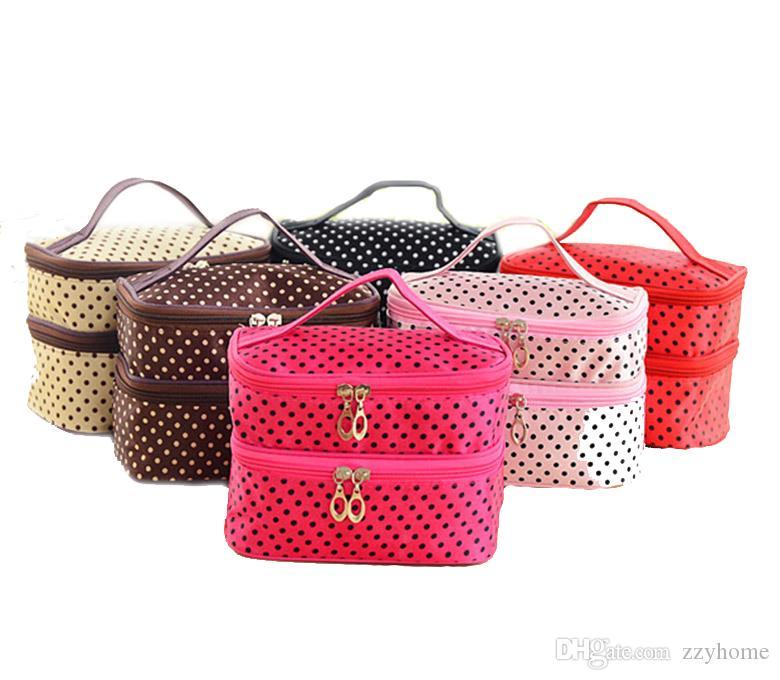 7 colores pequeños puntos precioso doble capa Bolsa de Cosméticos de maquillaje caja de la bolsa de viaje del artículo de tocador del organizador del almacenaje