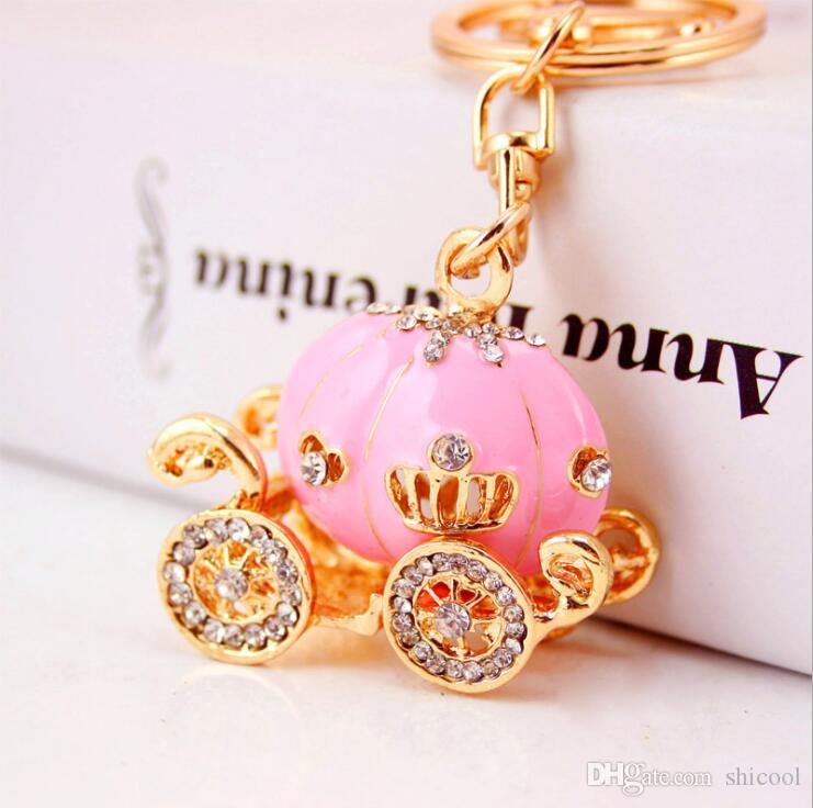 5 Colors Pumpkin Carriage Keychain Crystal Car Key Chain Ring Holder For Hallowmas Keychains Purse Bag HandBag Pendant Keyring Wedding Gift