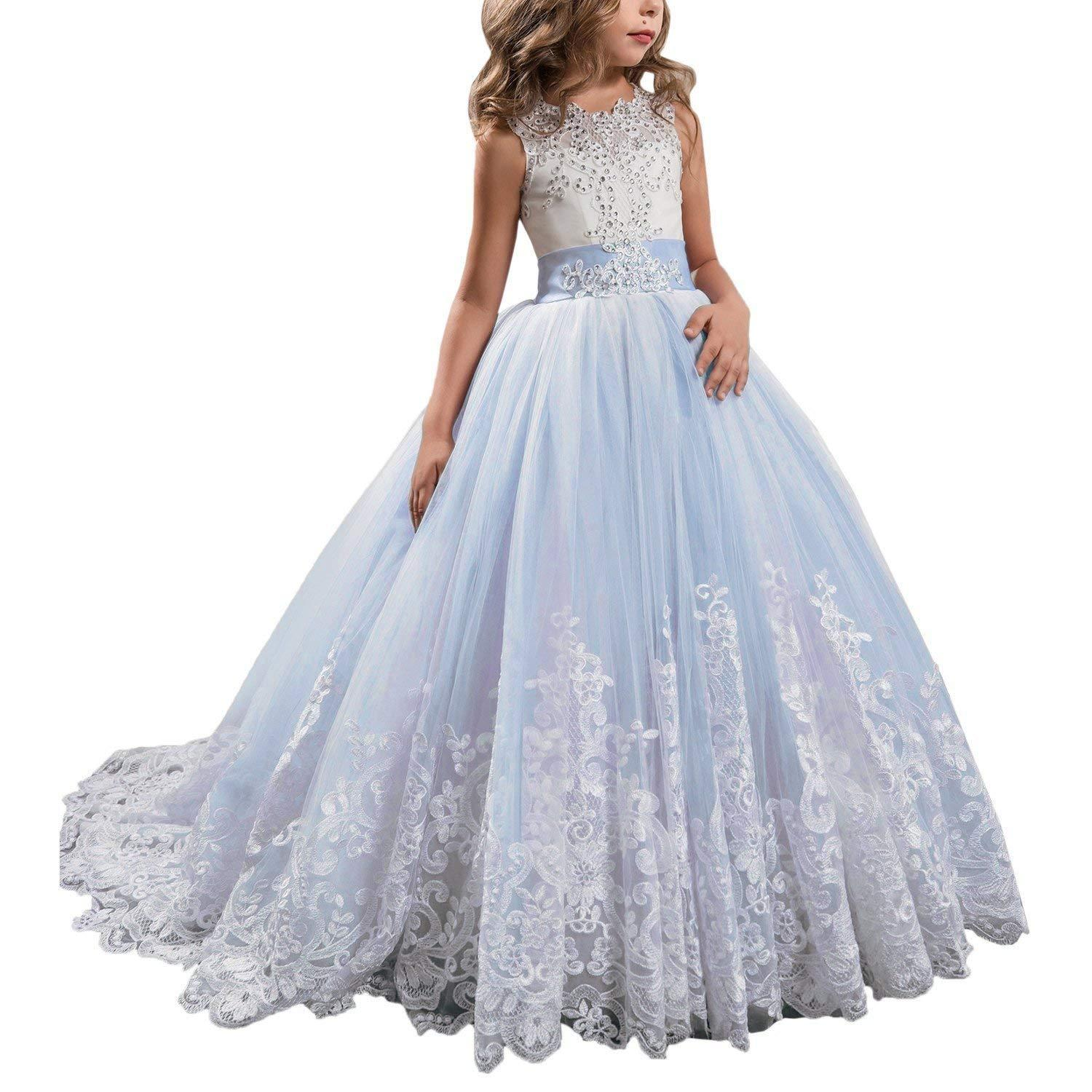 Princess Lilac Long Girls Pageant Dresses Kids Prom Puffy Tulle Ball Gown