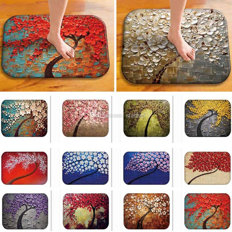 Árbol de la vida flor DoorMats franela antideslizante Alfombra de piso alfombras de interior al aire libre para la decoración del hogar alfombras de cocina 40 * 60 cm WX9-520