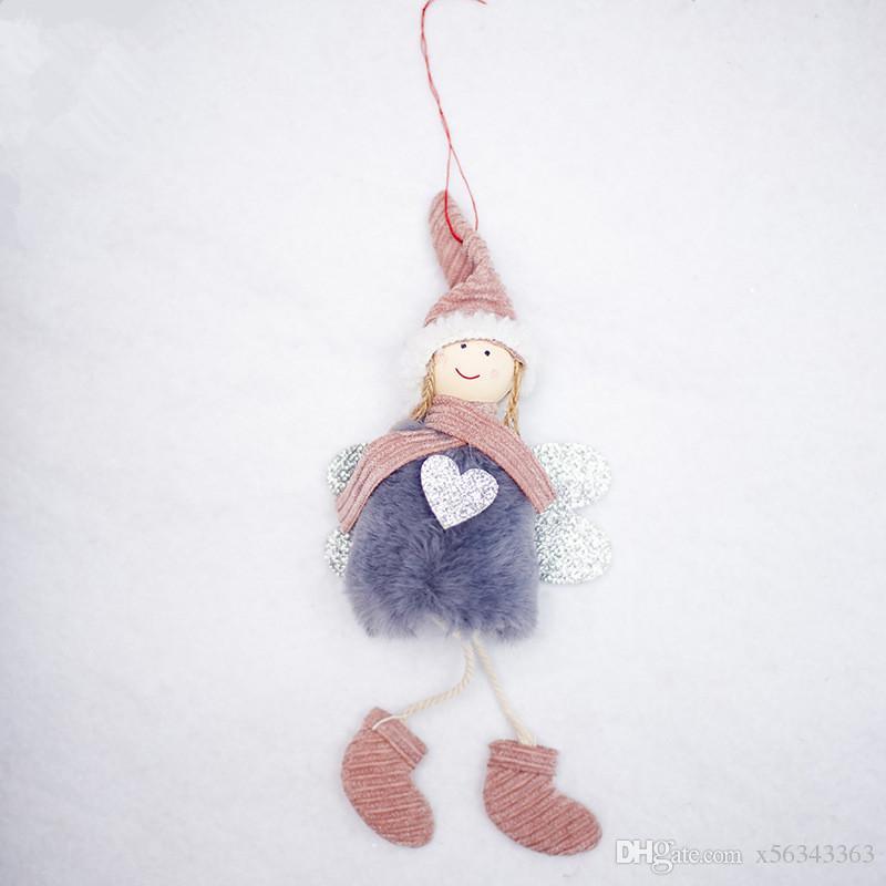 Décorations de Noël en peluche Ange mignon Poupée Jouet Arbre de Noël fenêtre extérieure suspendu Pendentif Décoration du Nouvel An cadeau Tableau Ornements XX