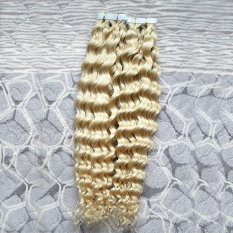 613 Bleach Blonde aplique cinta Adhesive Skin Weft Hair 100g 40pcs / Set cinta rizada rizado afro en extensiones de cabello humano