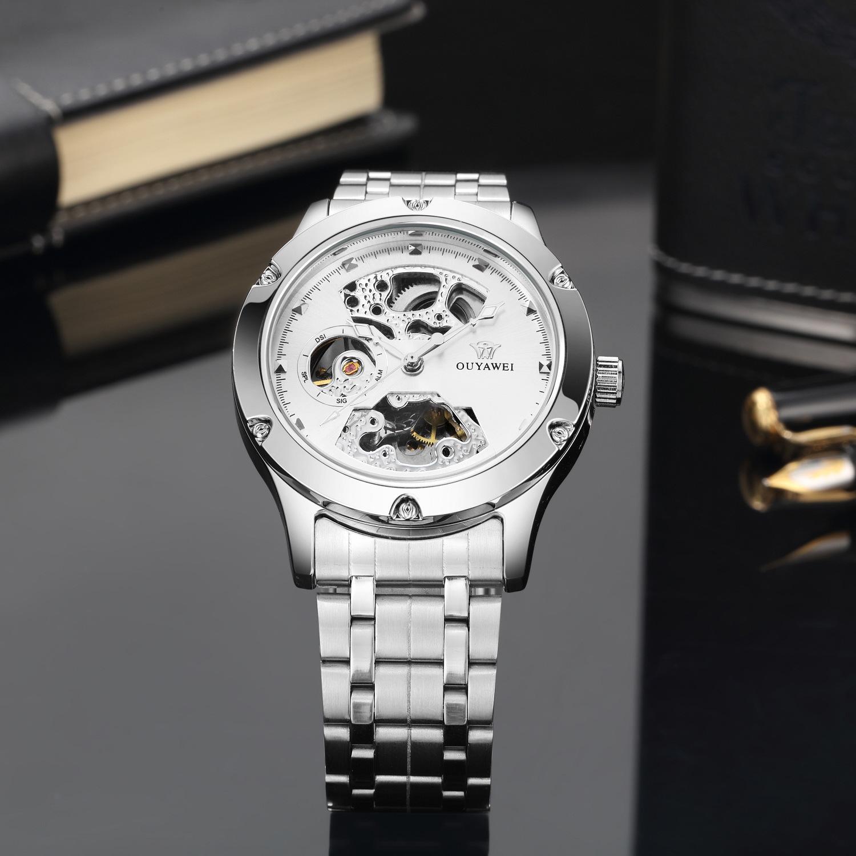 OUYAWEI Luxo Mecânico Automático Homem Relógio de Pulso Da Marca do Sexo Masculino de Negócios Preto Vestido de Aço Completa Assista Mens Hombre Relógios OYW1321