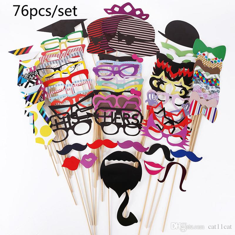 Wholesale-Wedding DIY Decoration Photo Booth Props Funny Mask Glasses Mustache Lip On A Stick Baby Shower Wedding Birthday Party Supplies