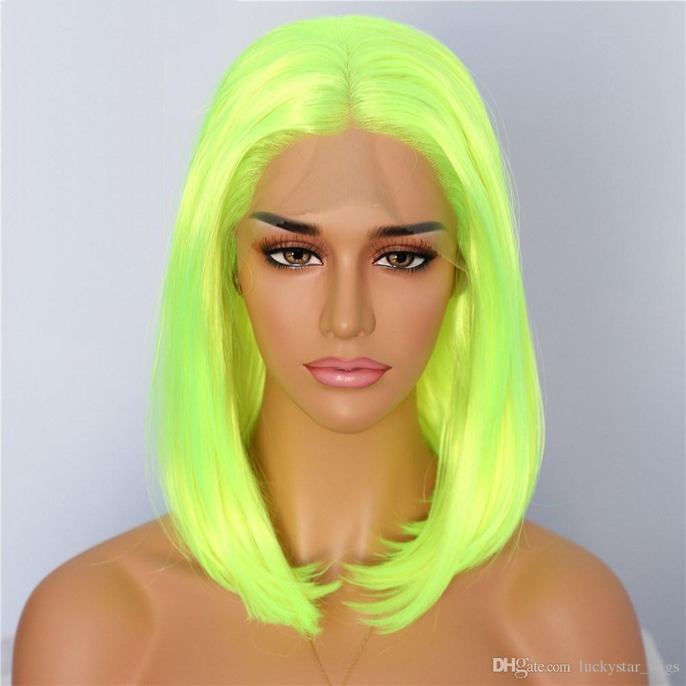 New Halloween Long Wavy Neon Green Color Heat Resistant Hair Glueless Synthetic Lace Front Wigs for Cospaly Drag Queen Cheap Fiber Hair