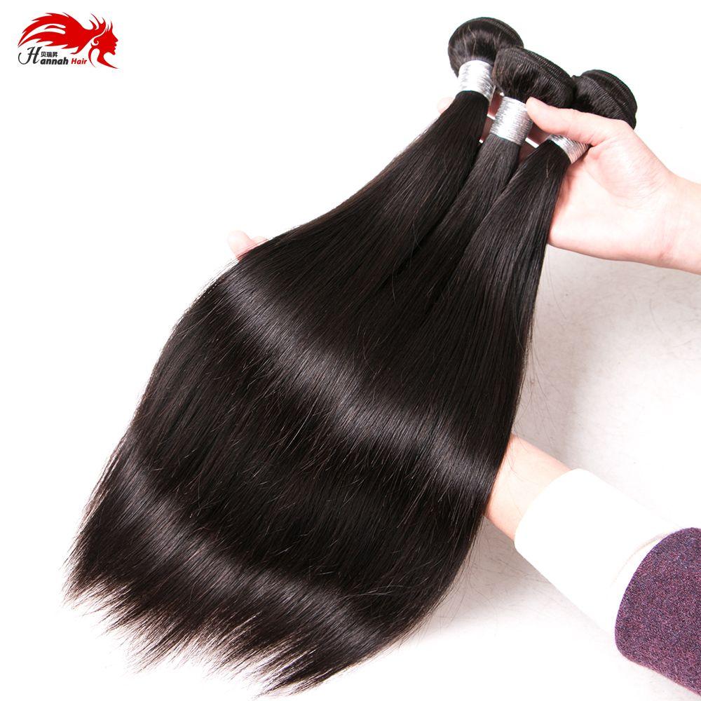 Hannah Peruanische Reine Haar Gerade 3 Bundles 100% Unverarbeitete Menschenhaarverlängerungen 100 gr / teil Peruanische Gerade Reine Haarbündel