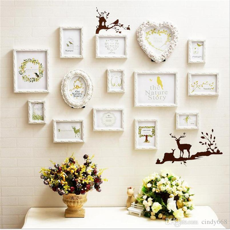 3D Carved Wood Picture Frames Sets Wall Decor,14 pcs/set Love Photo Frame Combination for Wedding,White Family Photo Frames Oval