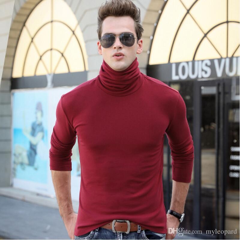 t shirt uomo tshirt uomo manica lunga dolcevita t-shirt maglietta termica invernale uomo slim stretto moda casual magliette top
