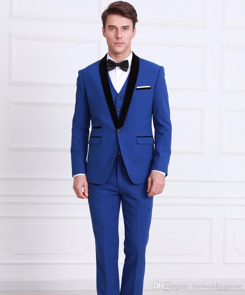 Men Suits Slim Fit Custom Made Royal Blue Tuxedo England Style Wedding Groom Prom Party Business Man Suits Terno Blazer Masculino 3 Pieces