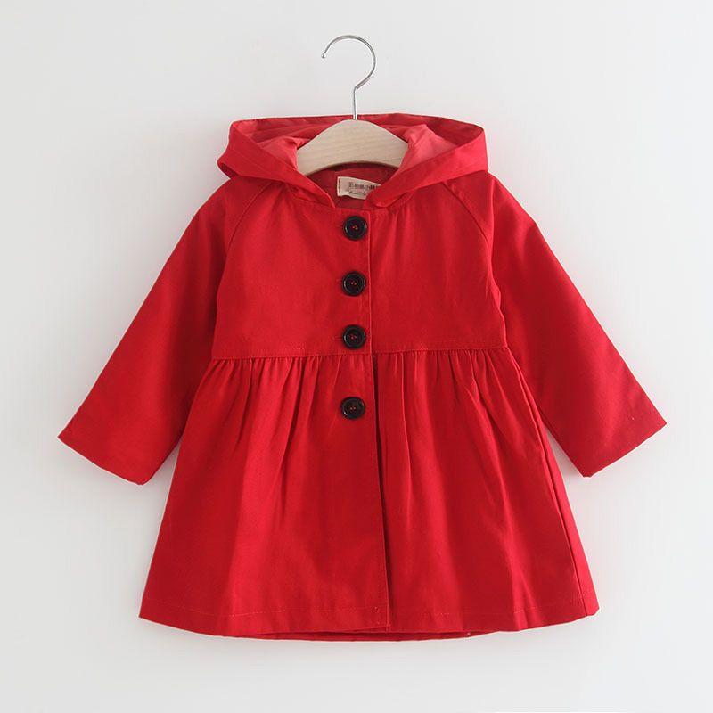 Da 2 a 6 anni le ragazze cadono tench solidi Cappotti, bambini primavera / autunno top moda, bambino bambini adolescente boutique abbigliamento, R1AZR810CT-12
