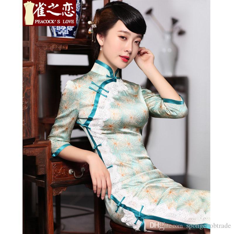 Любовь павлина Новый 100% шелкография Shanghai женщины Cheongsam 1/2 рукав леди Улучшенный щелчок шелкового Qipao платье с высоким воротником на молнии назад с кружевом Q1