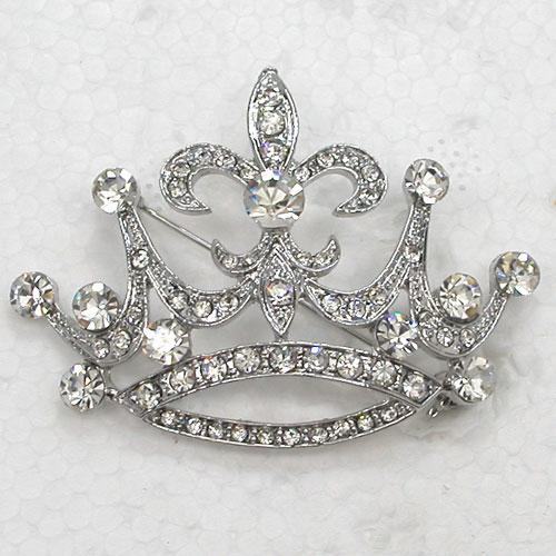 12pcs / lot gros cristal strass fête de mariage couronne broches costume de mode broche broche bijoux cadeau C932