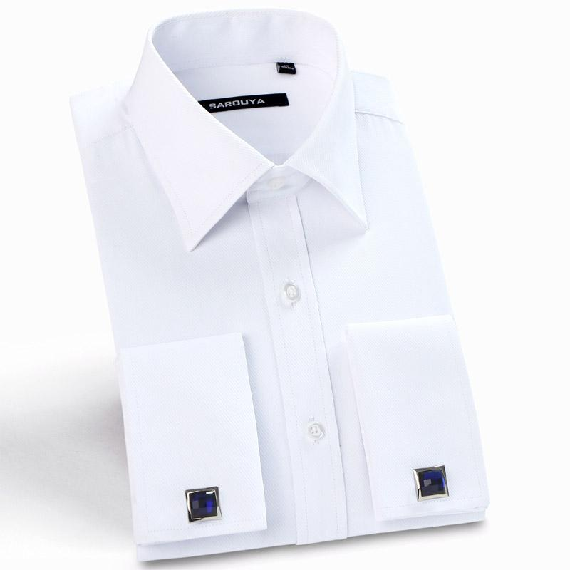 Mens  French Cuff Solid Dress Shirts Spread Collar Long Sleeve Regular-Fit Formal Business Twill Shirt(Cufflinks Included)