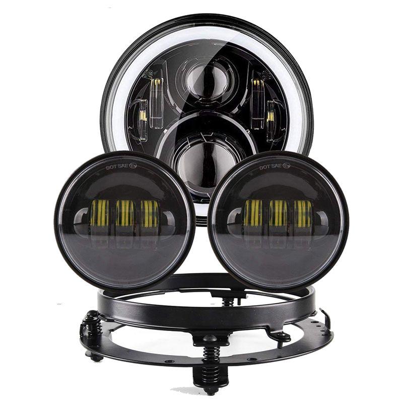 """Piezas de la motocicleta de la linterna 7 """"Linterna del motor del LED 4.5"""" Luces de paso de 4 1/2 pulgadas para Heritage Softail Classic"""