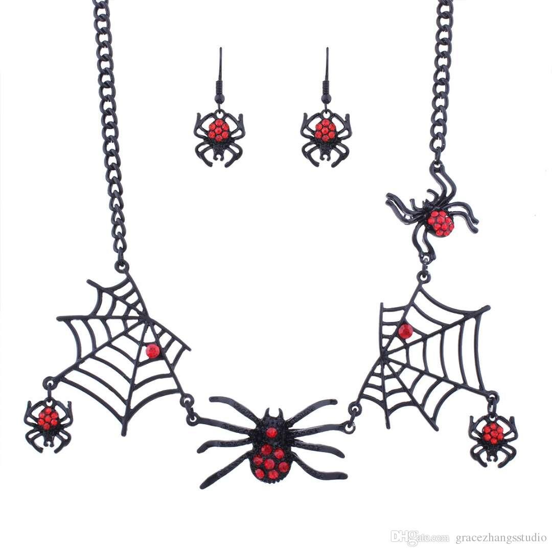 Zest Araña Halloween pendientes con la campana para orejas perforadas Negro /& Rosa