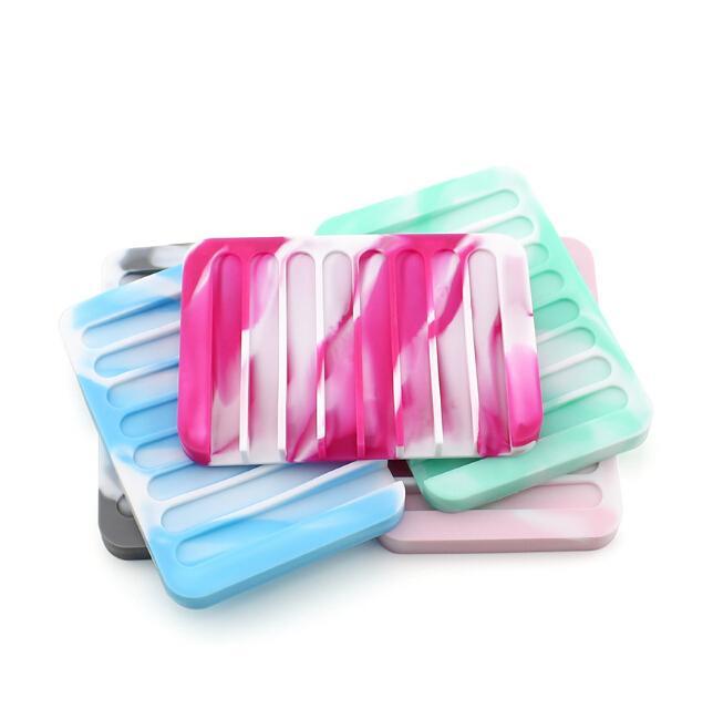 Helado Color de Moda Accesorios de Baño de Silicona Plato de Jabón Flexible Sostenedor de Jabón Plato Bandeja Desagüe Herramientas de Baño Creativas