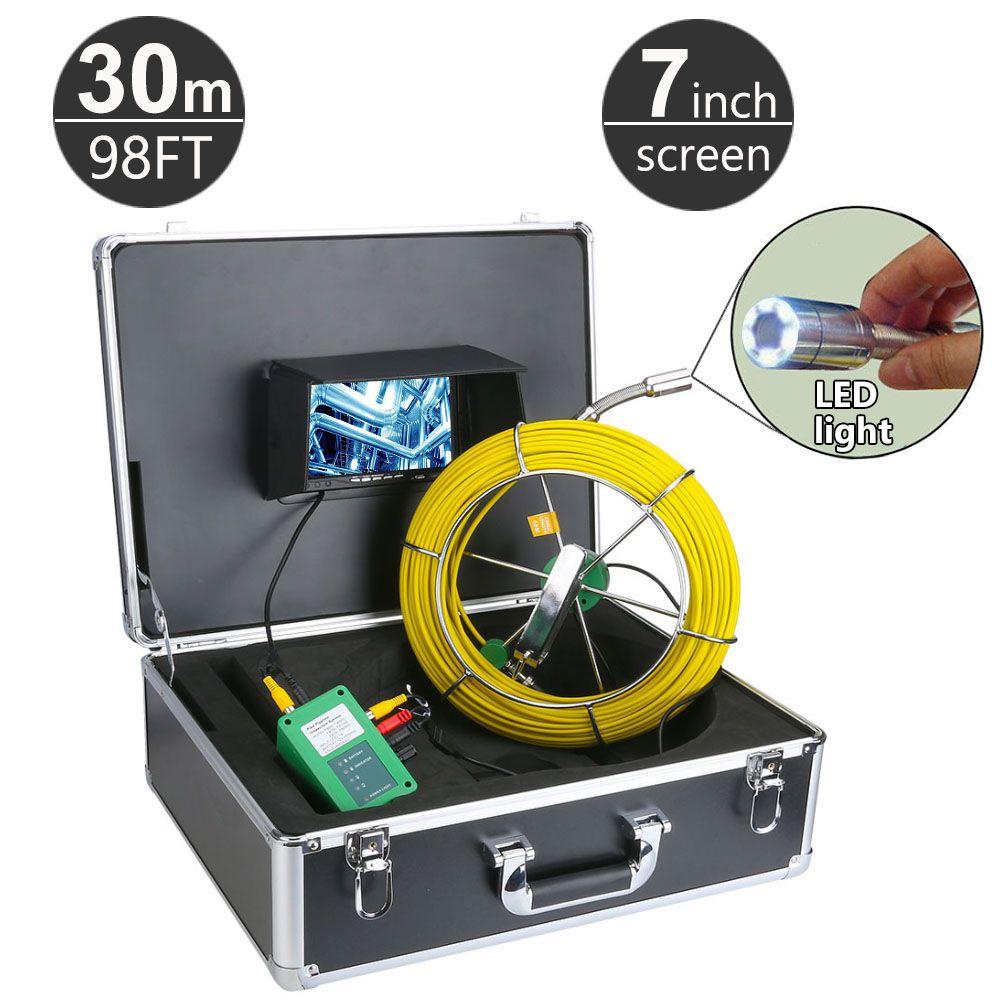 30M / 98ft 하수 파이프 파이프 라인 드레인 검사 시스템 7 인치 LCD 모니터 1000TVL 뱀 드레인 방수 파이프 벽 비디오 카메라