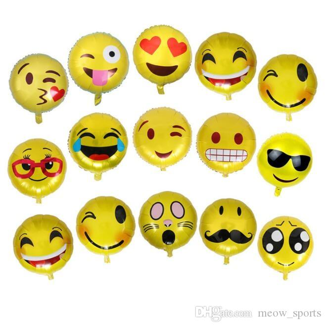 Find The Emoji Wedding.18 Inch Emoji Balloons Smiley Face Expression Yellow Foil Balloons
