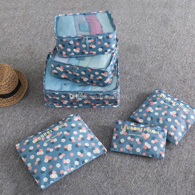 6Pcs/Set Travel Storage Bag Home Organizer Box For Clothes Tidy Pouch Suitcase Clothing Divider Container Outdoor Boxes Multi-Colors