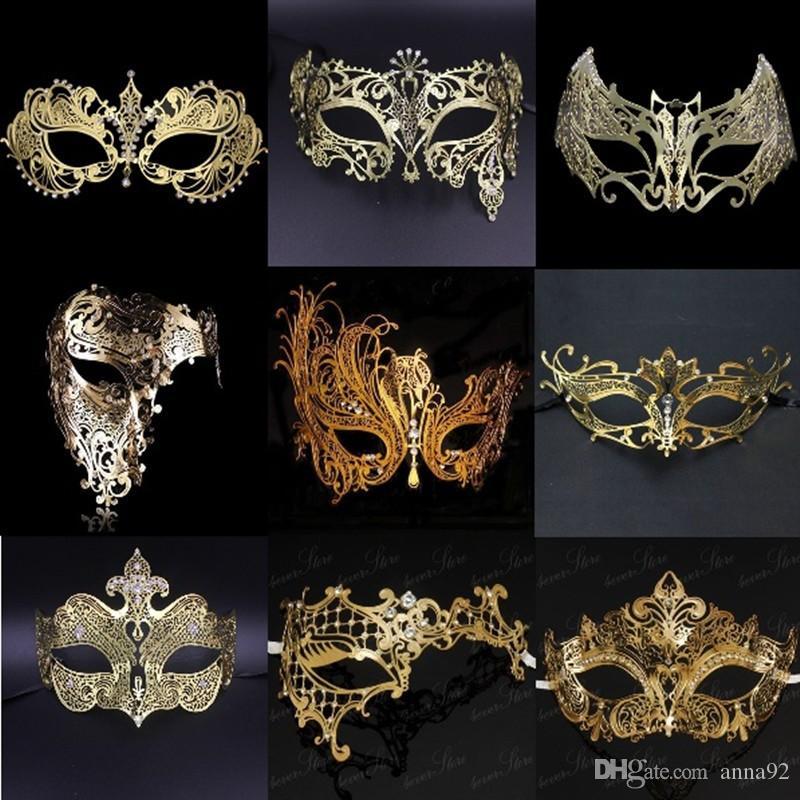 Filigree Devil mask Skull Venetian Masquerade Gold Mardi Gras Costume mascaras halloween mask laser cut metal carnival mask free shipping