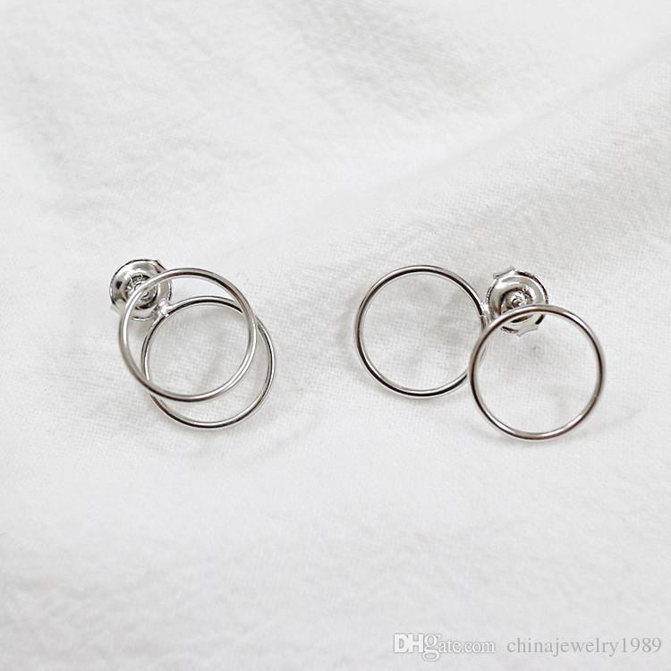 Шикарный двойной круг серьги для женщины девочка 925 серебро серьги Brinco изящных ювелирных изделий аксессуары YME095