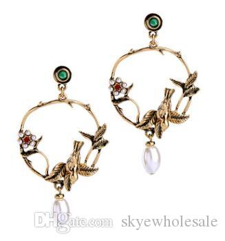 Earrings, women, antique, elegant, pearl flowers, three dimensional birds, earrings, earrings